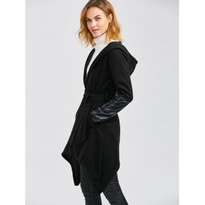 Leather Panel Self-Tie Wrap Coat - BLACK M