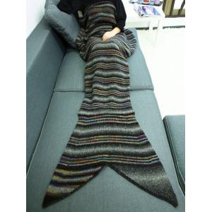 Winter Thicken Stripe Throw Bed Mermaid Blanket - COLORMIX