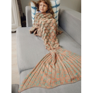 Knitted Fish Scales Design Wrap Mermaid Blanket and Throws For Kids -