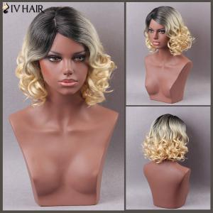 Siv Hair Mixed Color Short Side Parting Curly Human Hair Wig