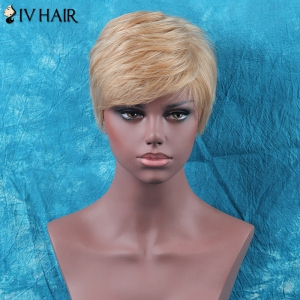 Siv Hair Shaggy Short Side Bang Straight Human Hair Wig -