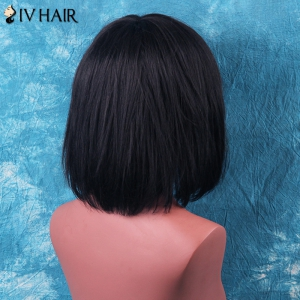 Siv Hair Short Neat Bang Gentle Straight Human Hair Wig - BROWN WITH BLONDE