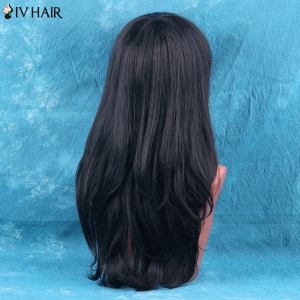 Siv Hair Long Side Bang Layered Tail Adduction Human Hair Wig - AUBURN BROWN #30