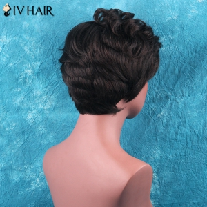 Siv Hair Short Side Bang Towheaded Curly Human Hair Wig -