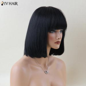 Siv Hair Fascinating Short Full Bang Straight Human Hair Wig - JET BLACK