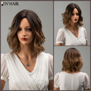 Siv Hair Short Middle Part Mixed Color Wavy Human Hair Wig