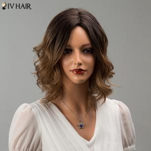 Siv Hair Short Middle Part Mixed Color Wavy Human Hair Wig -