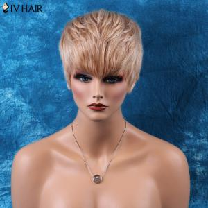 Siv Hair Pixie Cut Short Neat Bang Straight Human Hair Wig -