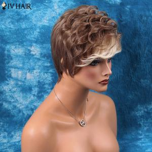 Siv Hair Short Side Bang Multi Color Fluffy Wavy Human Hair Wig -