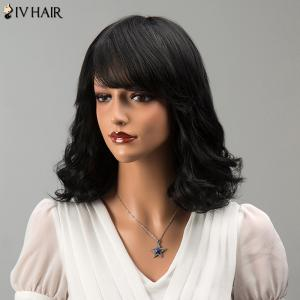 Medium Side Bang Fluffy Wavy Siv Hair Human Hair Wig -