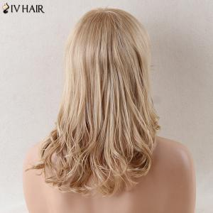 Siv Hair Long Side Bang Stunning Wavy Human Hair Wig - BLONDE