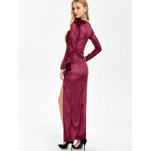 Slit Long Sleeve Maxi Velvet Prom Evening Dress - WINE RED M