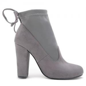 Splicing Stretch Fabric Tie Up Ankle Boots -