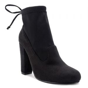 Splicing Stretch Fabric Tie Up Ankle Boots - Black - 40