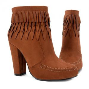 Stitching Layer Fringe Zip Ankle Boots - BROWN 39
