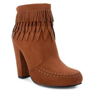 Stitching Layer Fringe Zip Ankle Boots - Brown - 38