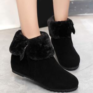 Zip Suede Hidden Wedge Short Boots