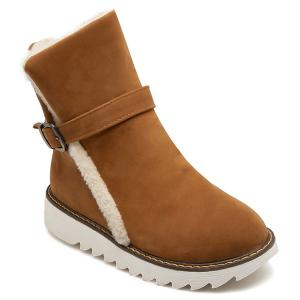 Round Toe Buckle Strap Snow Boots - Brown - 38