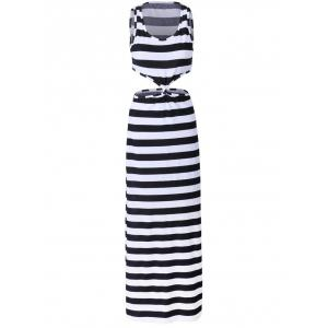Petite Stripe Twist Front Cut Out Maxi Dress