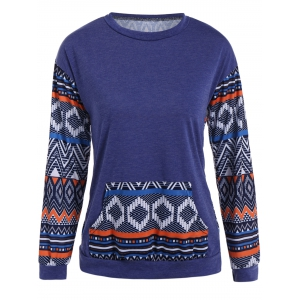 Front Pocket Geometric Print Sweatshirt