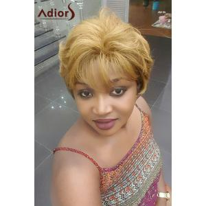 Adiors Short Neat Bang Shaggy Natural Straight Synthetic Wig -
