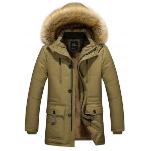 Furry Hood Flocking Zipper Design Pockets Quilted Coat