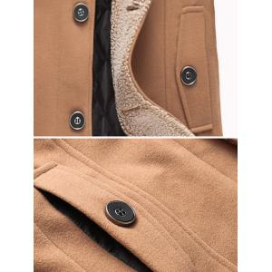Plus Size Hooded Flocking Single Breasted Woolen Coat -