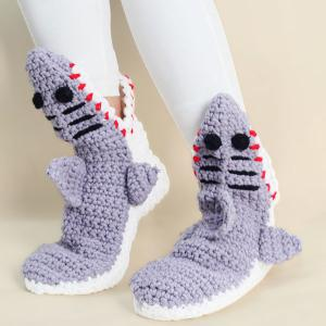 Cartoon Knitted Shark Slipper Socks - Light Gray - 37