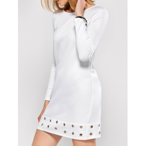 Jewel Neck Long Sleeve Hollow Out Dress - WHITE XL