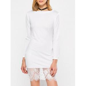 Lace Hem Long Sleeve Jersey Day Dress
