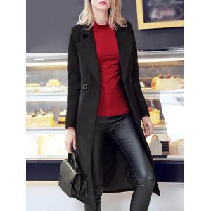 Lapel Long Double Breasted Woolen Coat