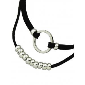 Layered Artificial Leather Velvet Circle Choker -