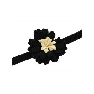 Artificial Leather Velvet Flower Choker Necklace -