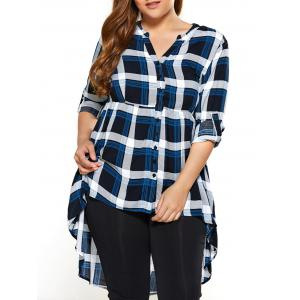 Plus Size Plaid High Low Blouse - Checked - 4xl