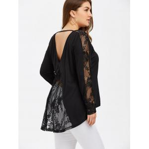 Plus Size Lace Insert Open Back Blouse - Black - 2xl