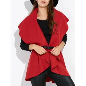 Draped Capelet Vest Sleeveless Cardigan - Red - One Size
