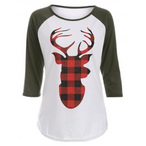 Christmas Elk Print Raglan Sleeve T-Shirt - Army Green - S