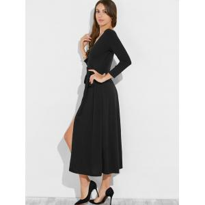 Low Cut Maxi Wrap Cocktail Dress - BLACK XL