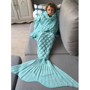 Knitted Fish Scales Design Wrap Mermaid Blanket and Throws For Kids - Azure - M