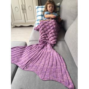 Knitted Fish Scales Design Wrap Mermaid Blanket and Throws For Kids - Pinkish Purple