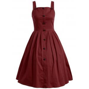 Vintage Sleeveless Buttoned Swing Dress - Wine Red - S