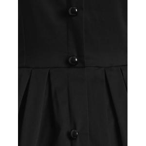 Vintage Sleeveless Buttoned Swing Dress - BLACK XL