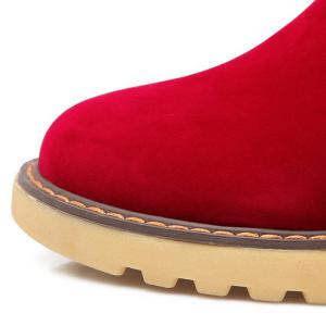 Stringing Faux Fur Hidden Wedge Snow Boots - RED 39