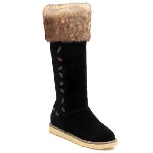 Stringing Faux Fur Hidden Wedge Snow Boots