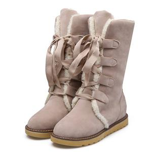 Tie Up Suede Mid Calf Boots - APRICOT 39
