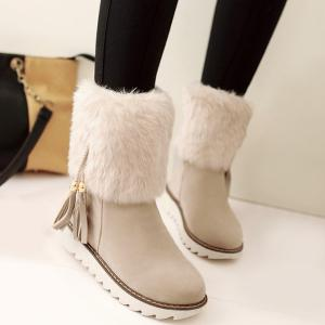 Flock Tassels Faux Fur Snow Boots - Off-white - 38