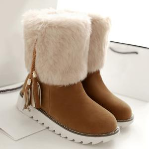 Flock Tassels Faux Fur Snow Boots - Brown - 38