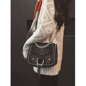 Covered Closure Chain Metal Crossbody Bag -