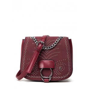 Covered Closure Chain Metal Crossbody Bag - Wine Red