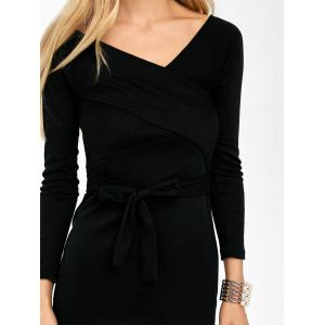 Belted Surplice Long Sleeve Dress -